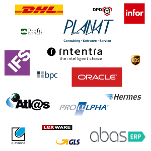 Logoparade mit Software-Schnittstellen von LogControl
