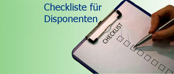 Checkliste für Disponenten Klemmbrett
